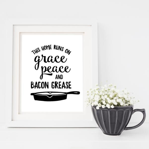 """INTRODUCTORY PRICING ends 10/10! Add some homespun charm to your farmhouse kitchenwalls with this clever print. The phrase, """"This home runs on grace, peace and bacon grease"""" is paired with a cast iron skillet. Perfect for your farmhouse kitchen!  Choose size: 5x7 or 8x10 Printed on Ultra Premium Epson Paper Framing required"""