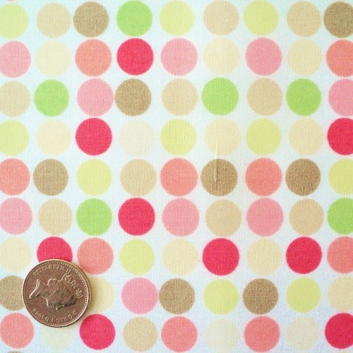 FQ - DOT TO DOT - GREEN PINK - MULTI COLOURED SPOTS COTTON FABRIC RETRO FUNKY | eBay