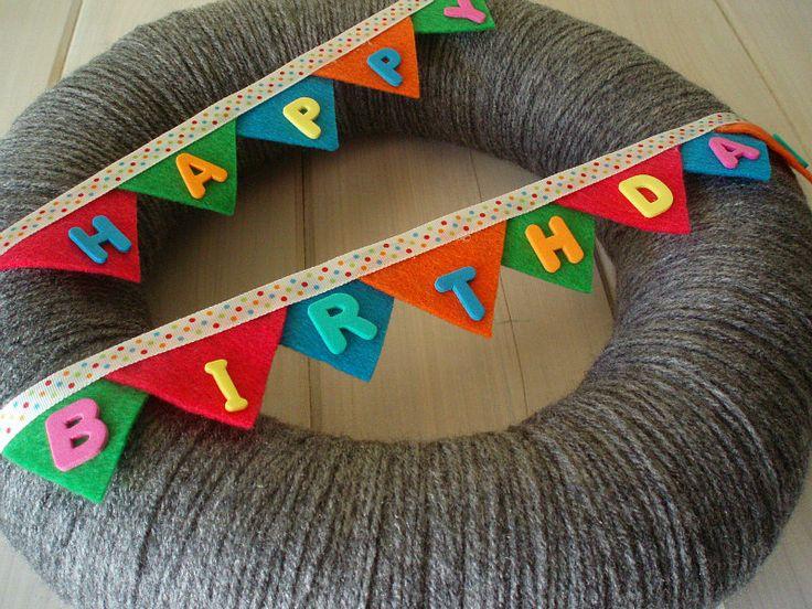 Happy Birthday Bunting Banner Handmade Front Door Yarn Wreath - 12in. $45.00, via Etsy.