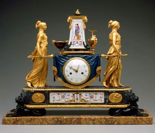 Pierre-Philippe Thomire (French; b. Paris, 1751-d. Paris, 1843) Case: Pierre-Philippe Thomire (French 1751-1843) Signed and dated: (Robin / Clockmaker to the King) 1789 gilded, patinated, and painted bronze, Sevrès porcelain, enamel on copper, and marble . Corcoran Art Gallery / collection.corcoran.org