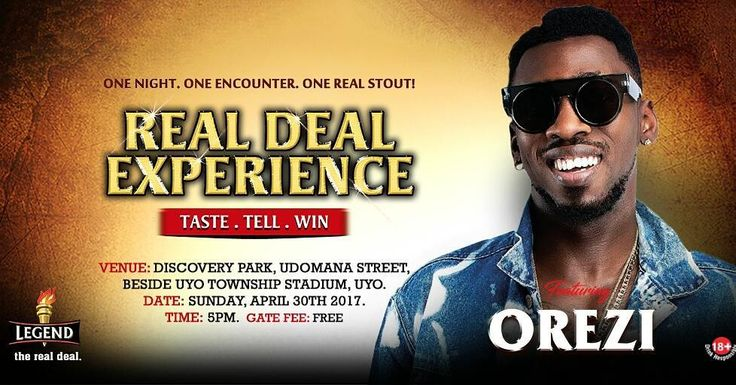 Ready to have a great Sunday or will you be reminiscing about April 30? Make sure you don't miss either one when Orezi Tipsy Kelvano and De Don storm Discovery Park beside Uyo Township Stadium this Sunday - today Sunday 30th April by 5 pm for Legend Extra-Stout Nationwide tour.  #RealDealExperienceUyo