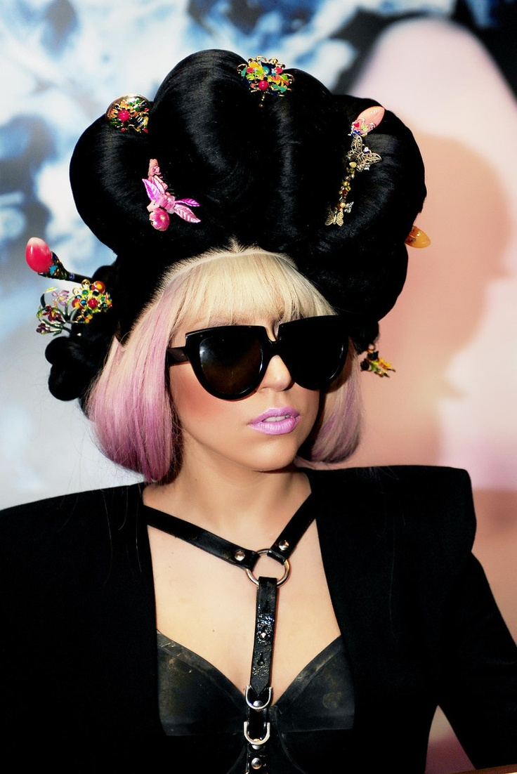 Lady Gaga Wearing Traditional Korean Hairdo Wig Ga Chae
