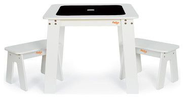 P'kolino Chalk Table and 2 Benches, White contemporary-kids-desks-and-desk-sets