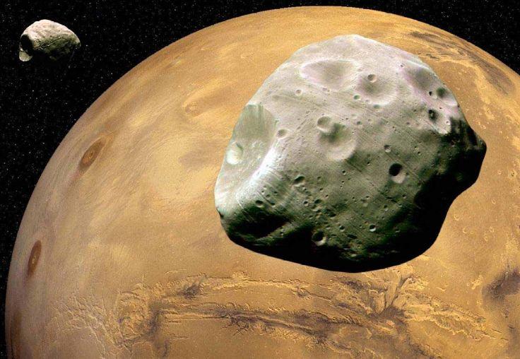 Mars with Phobos and Deimos