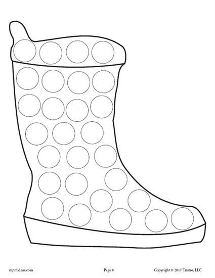 FREE Snow Boot Do-A-Dot Printable Plus 9 More Winter Do-A-Dot Printables! These dot painting coloring pages are great for toddler age, preschool, and kindergarten to practice fine motor skills and more! Get all 10 Winter Do-A-Dot Worksheets here --> https://www.mpmschoolsupplies.com/ideas/7885/10-free-winter-do-a-dot-printables/