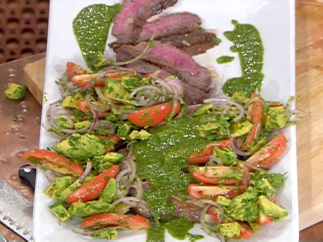 Marinated and Grilled Flank Steak with Chimichurri Sauce, Yucca Fries ...
