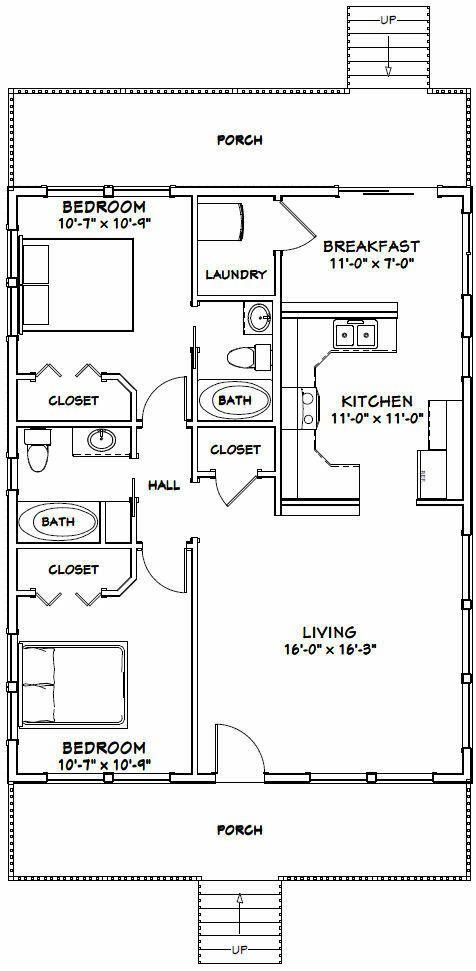 28x36 House -- 2 Bedroom 2 Bath -- 1,008 sq ft -- PDF Floor Plan