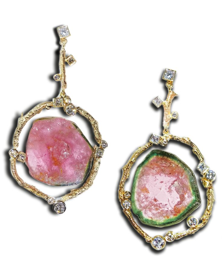 Gold and watermelon tourmaline gemstone earrings by Susan Eisen