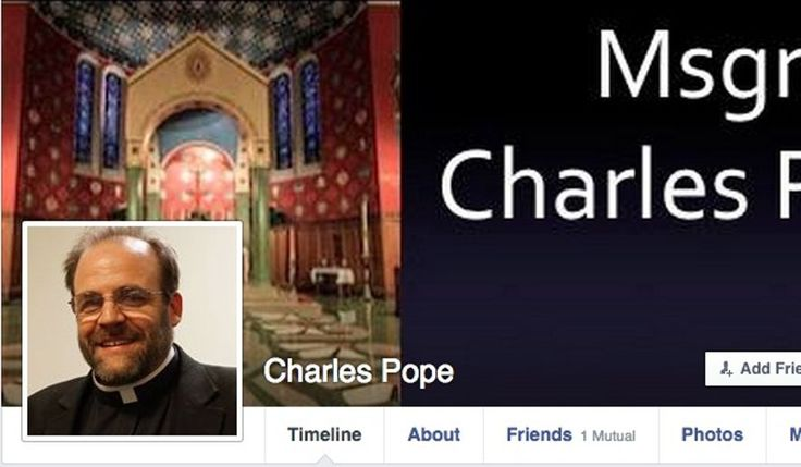 Monsignor Charles Pope, a Catholic priest who has held his religious title for ten years was told to remove his title from his Facebook page after using it for six years. Instead his title is now shown on his cover image (image: screen grab from Facebook)