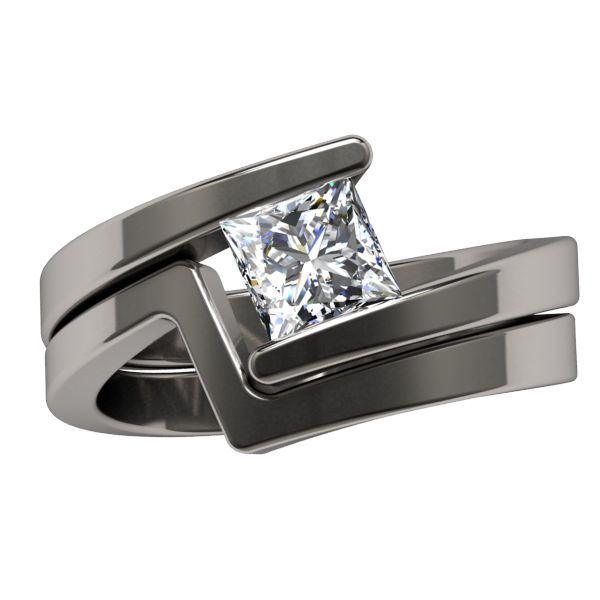 Etoile Square Solitaire   Solitaire Gem   Womens Rings | Titanium Rings, Titanium  Wedding Bands