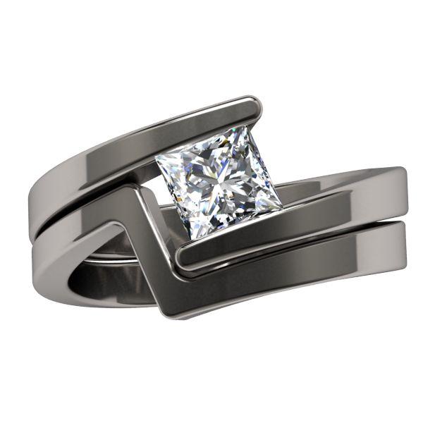 Etoile Square Solitaire - Solitaire Gem - Womens Rings | Titanium Rings,  Titanium Wedding Bands