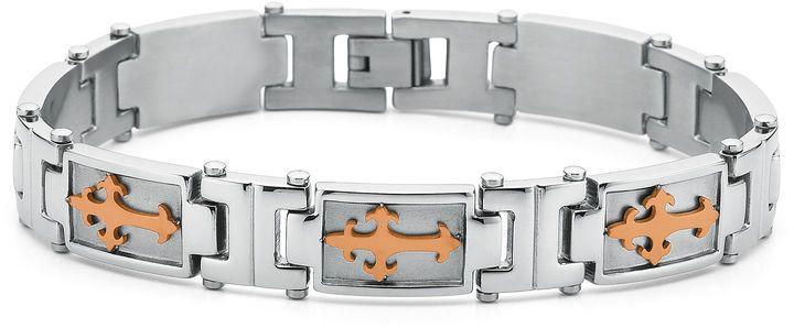 JCPenney FINE JEWELRY Men's Cross Bracelet Stainless Steel