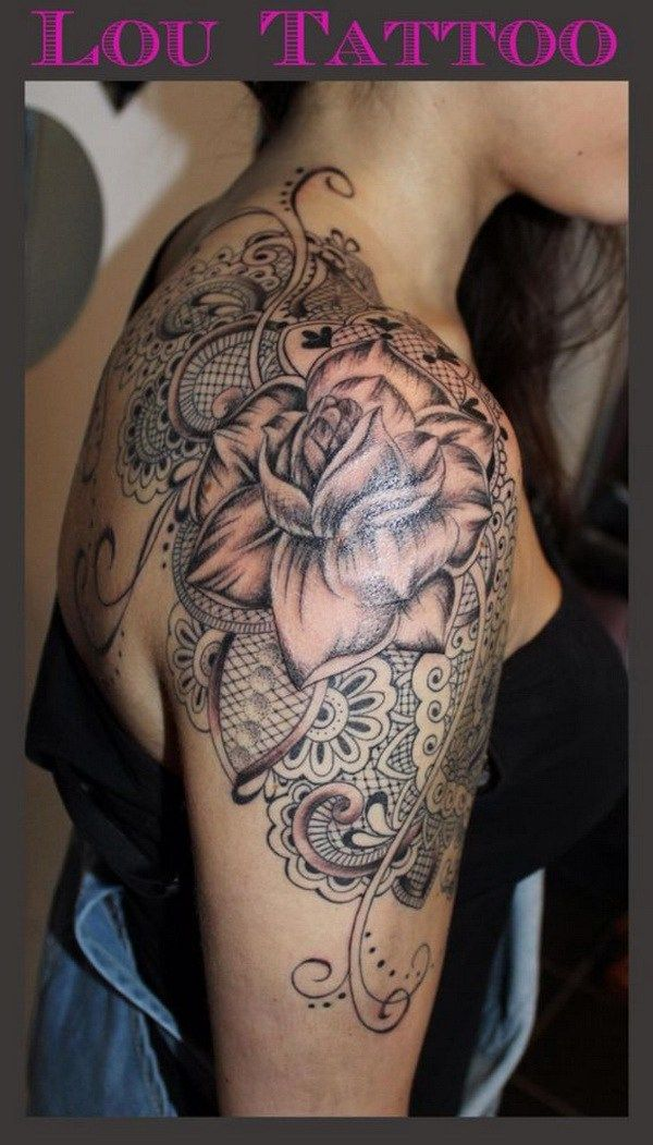 Shoulder Tattoo with Lace and Rose.