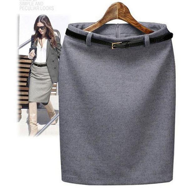 S-3XL Plus Size Winter Autumn Wool Pencil Skirt Women's Formal OL Wear to work Medium-long High Waist Skirt with Belt SKT365