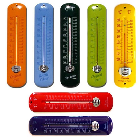 Enamel Indoor/Outdoor thermometers - colorful!
