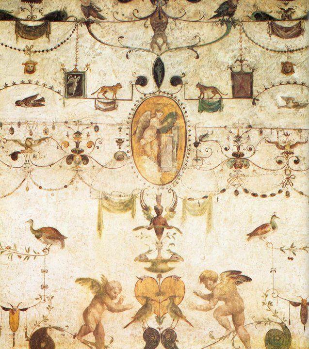 Dettaglio delle grottesche di Giovanni da Udine nella Loggia del Cardinal Bibbiena a Roma (1516-17)