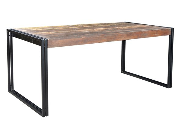 Solid Old Reclaimed Wood Dining Table with Metal Legs