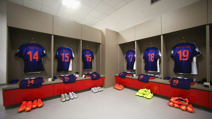 Match shirts worn by players of the Netherlands hang in the dressing room