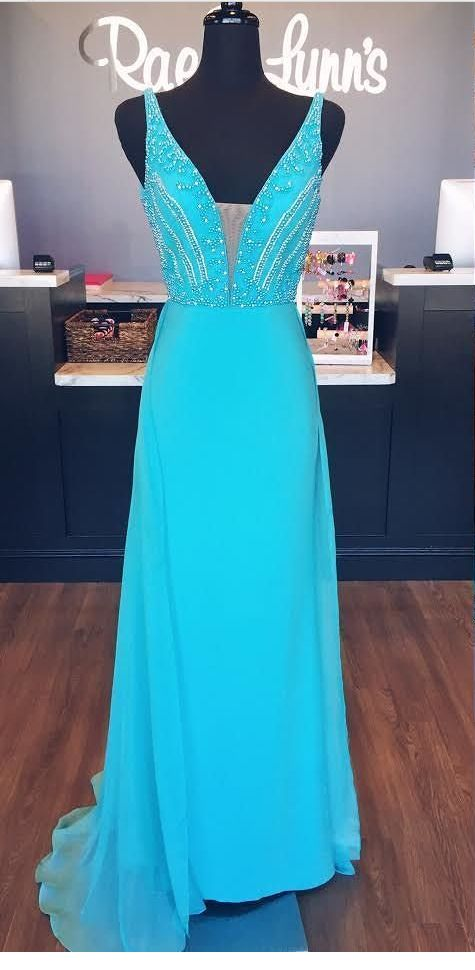 V-Neck Beaded Prom Dresses Wedding Party Dresses Formal
