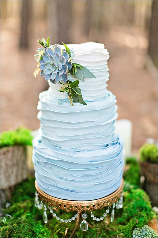 blue ombre ruffle wedding cake. Indian Weddings Inspirations. Blue Wedding Cake. Repinned by #indianweddingsmag indianweddingsmag.com #weddingcake