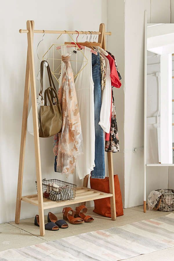 Slide View: 1: Wooden Clothing Rack