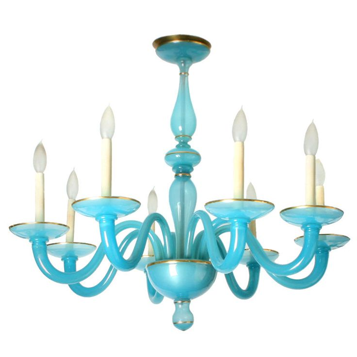 @DouglasRosin Mediterranean Blue Murano #Glass #Chandelier, #Italy1966 8 arms each bobeche has a very thin accent of gold