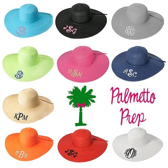 Floppy Hats-Ladies-floppy hat, monogrammed floppy hat, monogrammed easter hat, monogram easter,