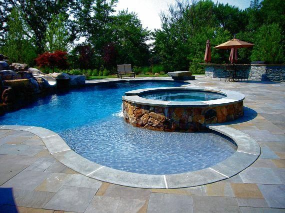 14 best backyard oasis images on pinterest swimming for Pool design for sloped yard