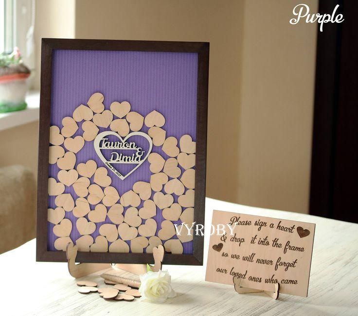Wedding guest book alternative drop box Rustic decor idea Heart guestbook frame 3d Drop top Personalized wooden book Unique wood brown