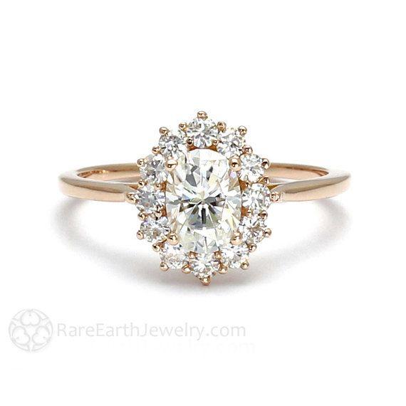 18K Cluster Moissanite Engagement Ring Oval Halo Forever Brilliant Moissanite Ring Conflict Free Diamond Alternative