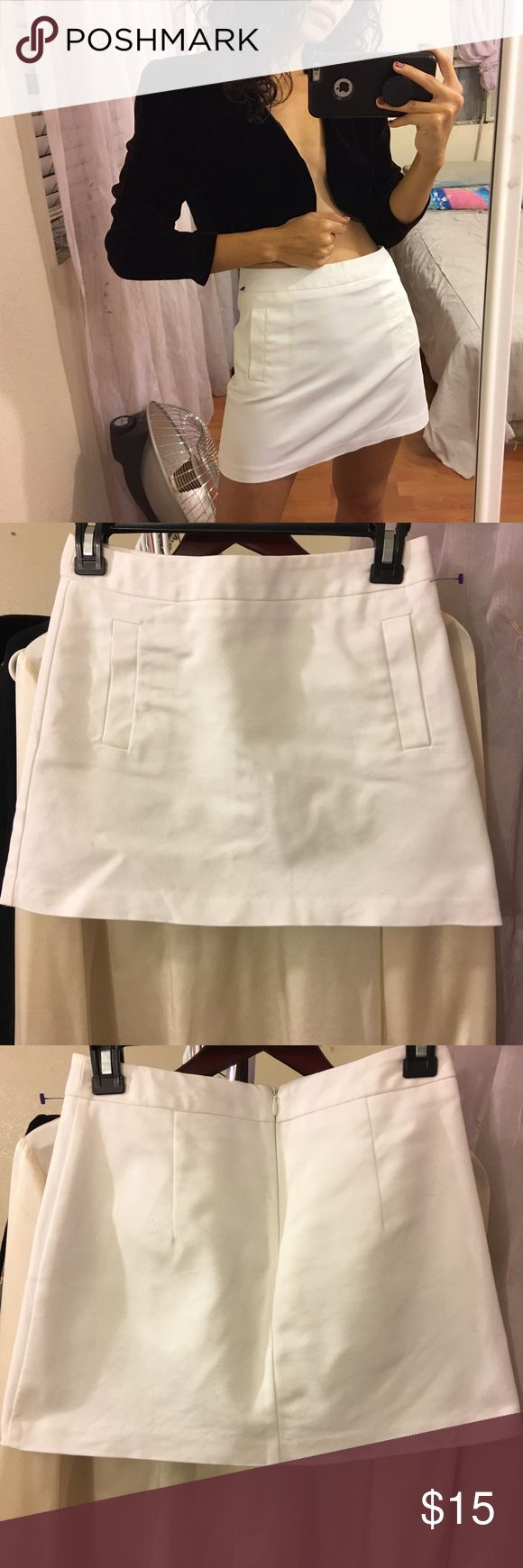 Forever 21 White Mini Skirt so minimal, but so classic and cool. I love this, fits me perfectly and i'm usually XS. it's marked as a size small. some imperfections (like ones pictured) but I'm sure the marks will come off (skirt is currently in the wash). I will update the description when i've washed the marks off. model is 5'2. Forever 21 Skirts Mini