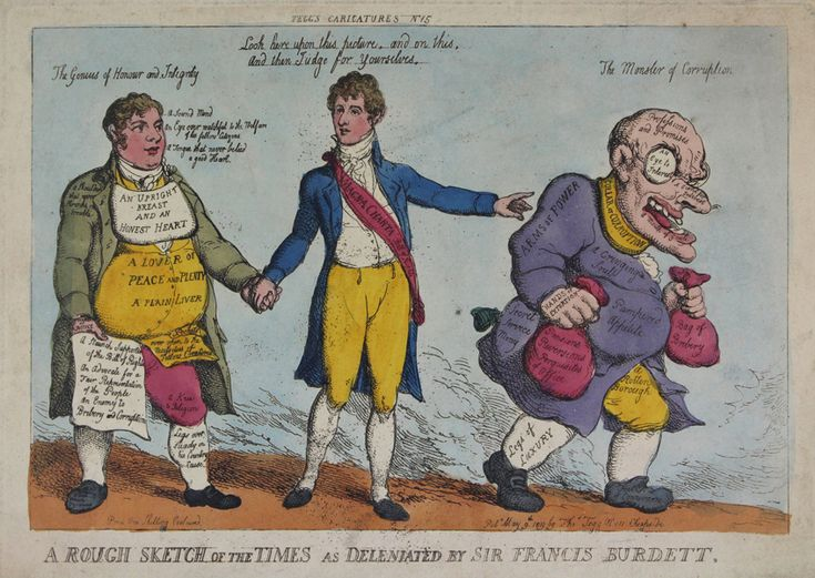 A Rough Sketch of the Times as deleniated by Sir Francis Burdett. Hand-col. etching by Thomas Rowlandson Pubd May 9th 1819 by Thomas Tegg no. 111 Cheapside A young handsome man stands between a stout and healthy looking man 'The Genius of Honour and Integrity' and a an older, grotesque looking man to his right 'The Monster of Corruption'. The young man is Francis Burdett and wears a sash with the inscription 'Magna Carta, Bill of Rights' reffering to his political career and reformations.