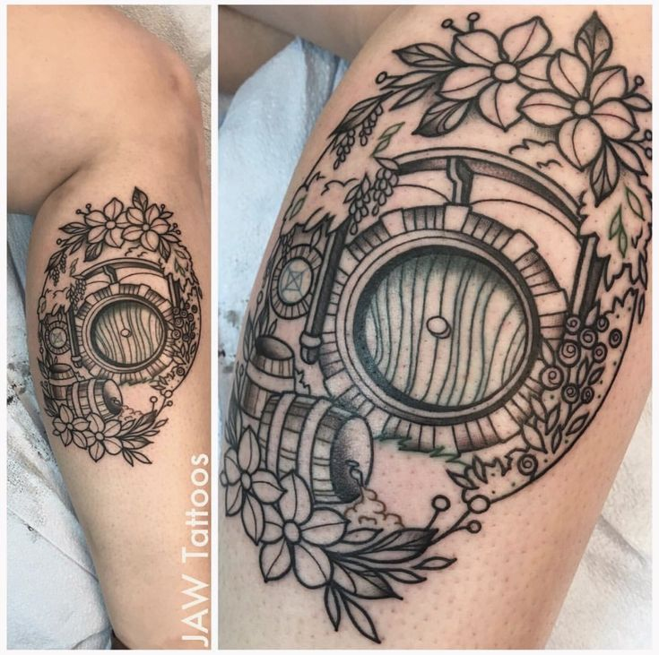 Hobbit Hole Tattoo by Jessica White. Color next session.