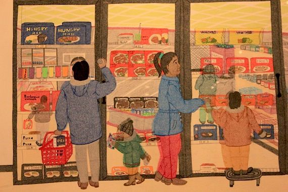 "Detail from ""Cape Dorset Freezer,"" a 2005 drawing by Nunavut artist Annie Pootoogook"