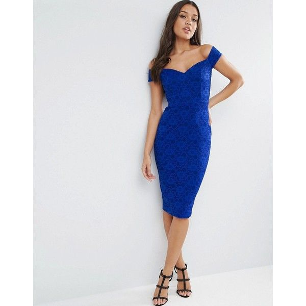 ASOS Lace Sweetheart Bardot Midi Bodycon Dress (88 AUD) ❤ liked on Polyvore featuring dresses, blue, blue bodycon dress, lace bodycon dress, off the shoulder lace dress, body con dresses and blue dress