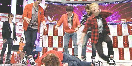 After Taemin falls all the SHINee members join in!