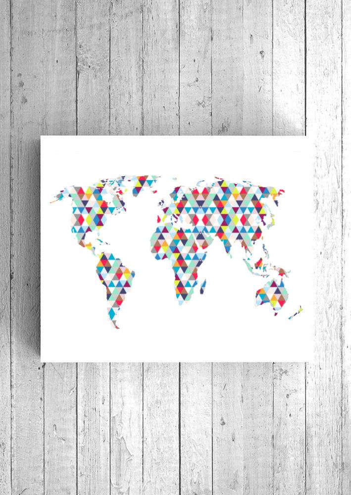 Geometric World Map Art - Printable World Map, Digital World Map Art, Abstract World Art, Triangle World Map, Instant File, Download Map Art by WatercolorArtHut on Etsy