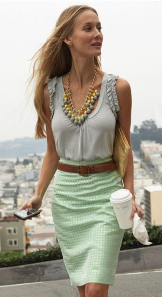 love the comboFashion, Mint Green, Outfit Ideas, Summer Outfit, Style, Mint Skirts, Pencil Skirts, Necklaces, Work Outfit