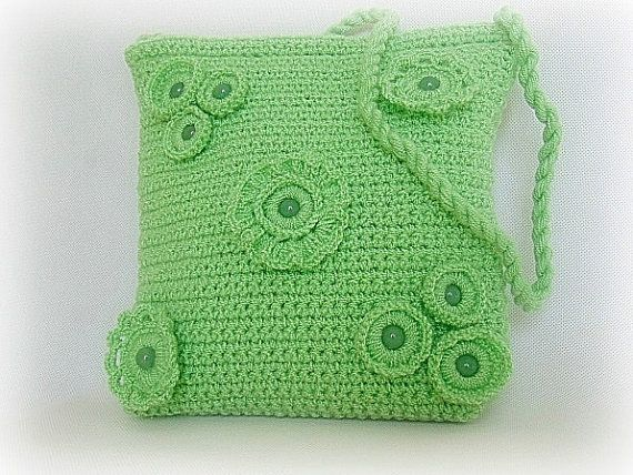 Crocheted handbag stone bag green bag green handbag by styledonna