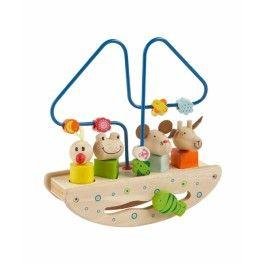 Activiteitenboot met puzzeldieren, Primi Passi - Vaar mee op deze schommelboot vol activiteiten. Een kralenframe, 4 dieren met puzzelvormen en een vis die je door de golven kunt laten bewegen. Degelijk houten speelgoed dat de oog-hand coördinatie stimuleert.