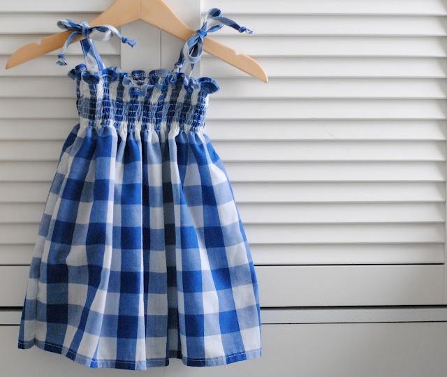 shirred gingham dress