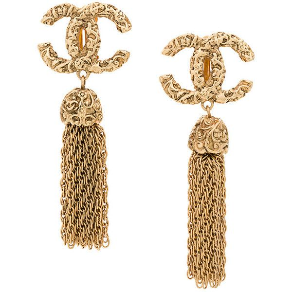 Chanel Vintage CC Fringe Earrings ❤ liked on Polyvore featuring jewelry, earrings, fringe jewelry, fringe earrings and earring jewelry