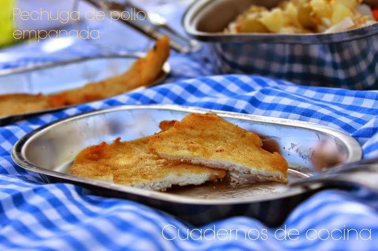 Pechugas de pollo empanadas del blog Cuadernos de cocina