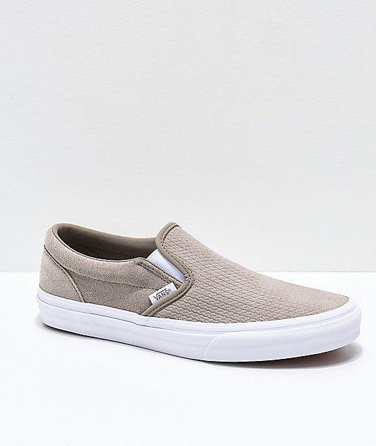 2f126e88bf Vans Slip-On Desert Taupe   White Embossed Suede Skate Shoes in 2019 ...