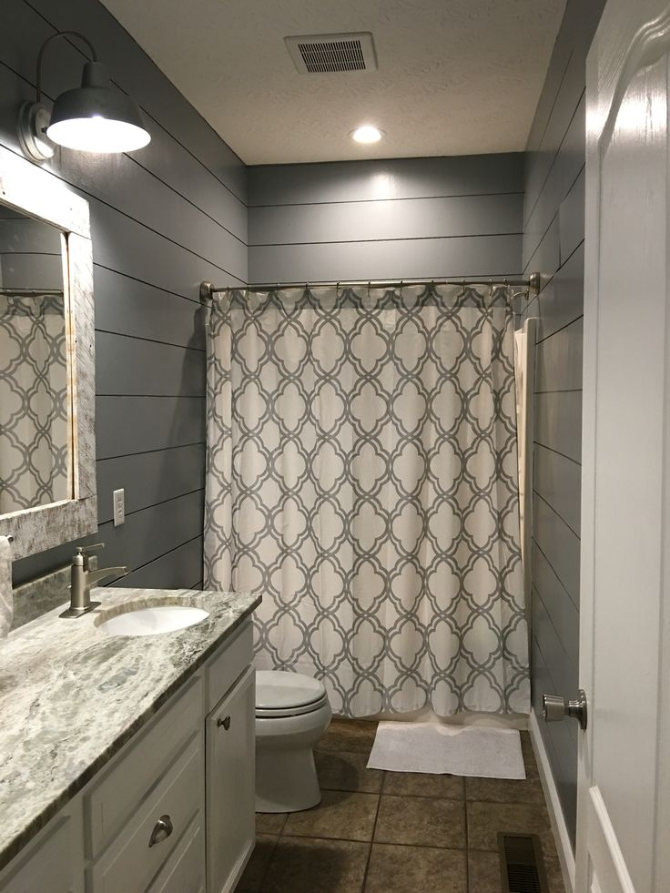 kids bathroom remodel shiplap cut at lowes outdoor lights from lowes shower curtain - Painted Wood Bathroom Interior