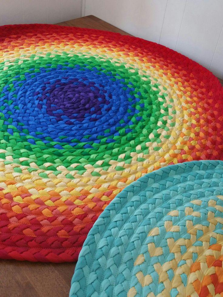 Rainbow nursery braided rug available at greenatheartrugs.com