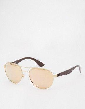 Зеркальные солнцезащитные очки в круглой оправе Ray-Ban