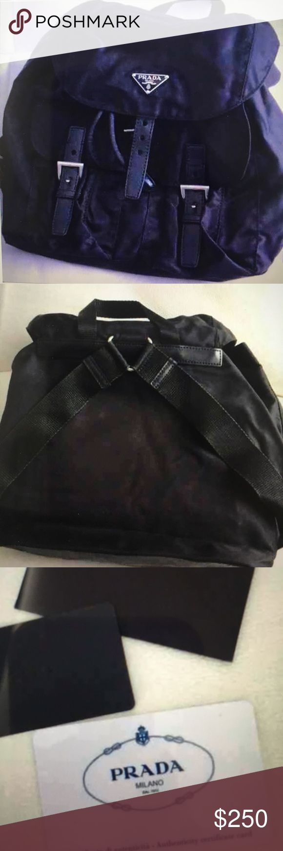 Prada backpack Authentic blk nylon Prada backpack.  Adjustable drawstring and front pockets.  Medium size. Comes with dust bag and authenticity card. Used a few times. Prada Bags Backpacks