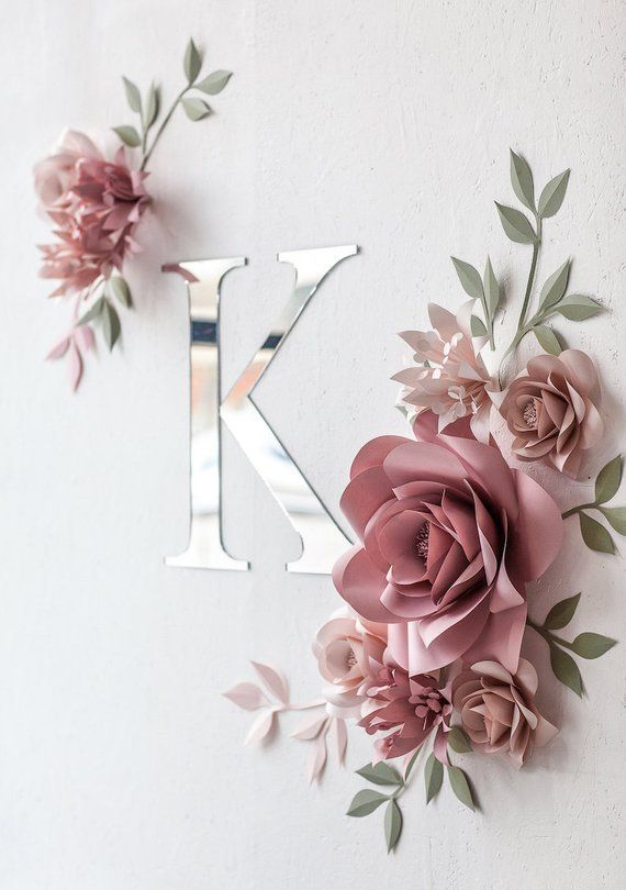 Personalized Paper Flowers Wall Decor – Personalized Nursery Decor – Personalized Nursery Wall Art – Paper Flowers (code:#143)