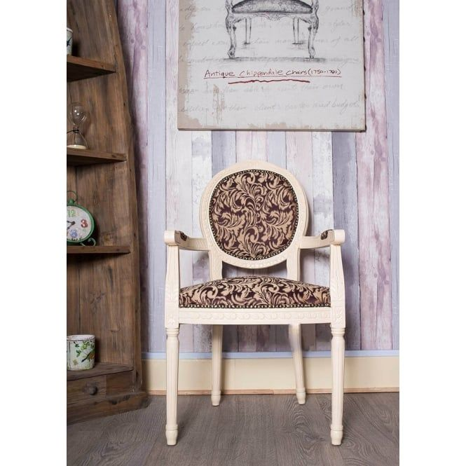 Chic My Room French Louis Armchair Round Back Ivory Purple Damask Gold Shabby  Chic Bedroom Antique